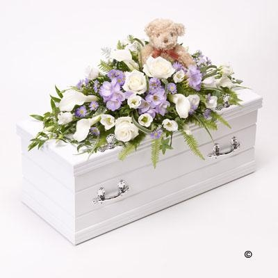 Childrens Casket Spray with Teddy Bear   Blue and Lilac *