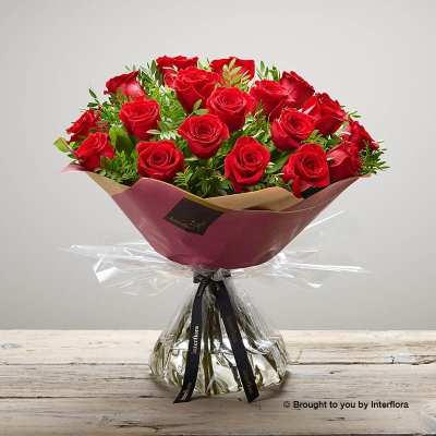 Valentine 18 Rose Hand tied