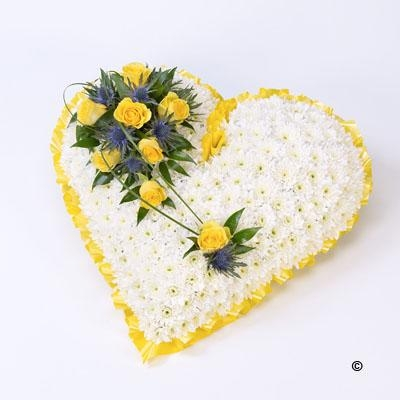 Classic White Heart with Yellow Roses *