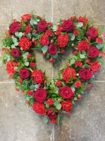 Open Red Rose and Carnation Heart