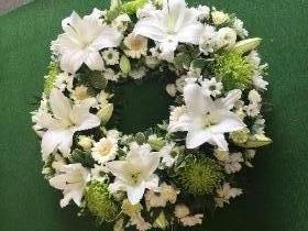 White & Green Lily Wreath