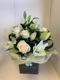 White Rose and Lily Hand Tied