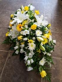 Yellow & White Casket Spray